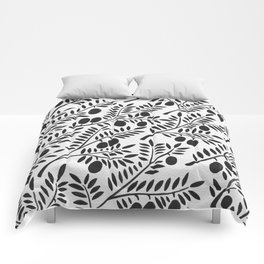 Black Olive Branches Comforters
