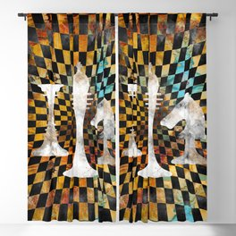 Chessboard Collage - White figures Blackout Curtain