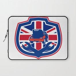 British Auto Repair Shop Union Jack Flag Crest Laptop Sleeve