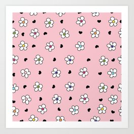 Cute Colorful daisy flower field pattern with black heart pink background Art Print
