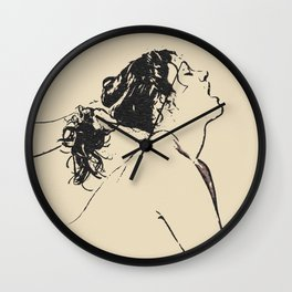 Take me to heaven - erotic bedroom games, sexy girl submissive act, naughty topless woman Wall Clock
