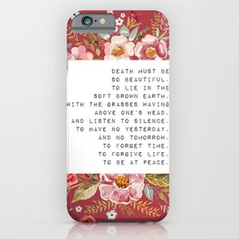 Death must be so beautiful - S. Plath Collection iPhone Case