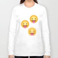 emoji Long Sleeve T-shirts featuring Pixelated Emoji by Krista Jaworski
