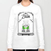 the legend of zelda Long Sleeve T-shirts featuring Zelda legend - Green potion  by Art & Be