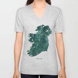 Ireland Watercolor Map Art by Zouzounio Art Unisex V-Neck