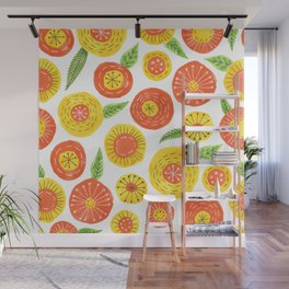 orange and yellow simple floral pattern Wall Mural