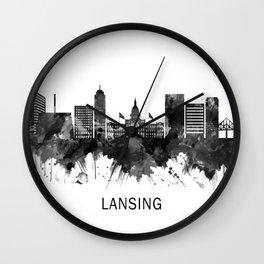 Lansing Michigan Skyline BW Wall Clock