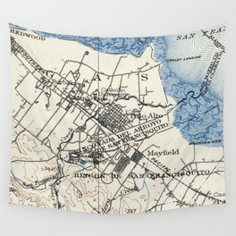Vintage Map of Palo Alto California (1899) Wall Tapestry