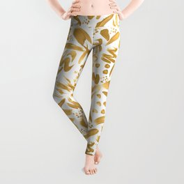 Modern abstract gold strokes paint Leggings