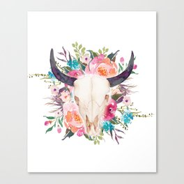 Watercolor bull skull with flower garland Canvas Print