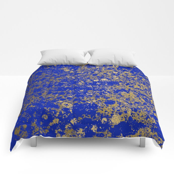 Royal Blue and Gold Patina Design Comforters