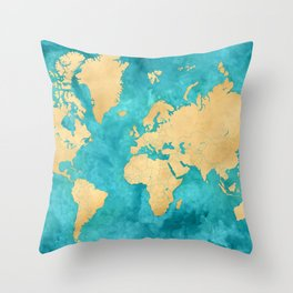 """Teal watercolor and gold world map with countries and states """"Lexy"""" Throw Pillow"""