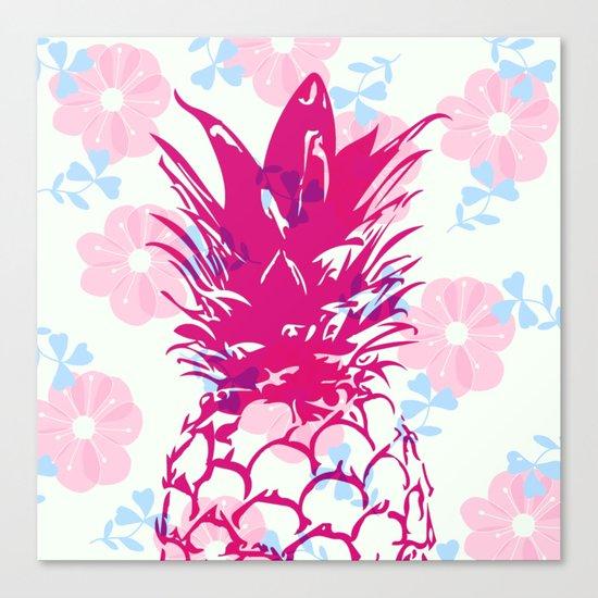 Beautiful Pineapple Flowers Pattern Canvas Print