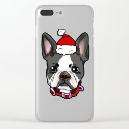 Boston Terrier Dog Christmas Hat Present Clear iPhone Case