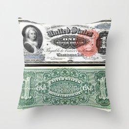 Vintage 1886 US $1 Dollar Bill Silver Certificate Martha Washington Wall Art Throw Pillow