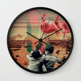 Pink Flamingos Wall Clock