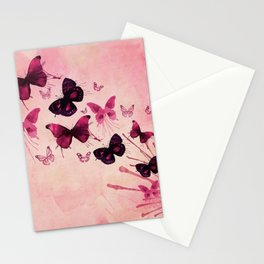 PINK BUTTERFLIES WATERCOLOR Stationery Cards