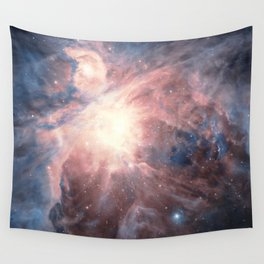 Iridescent Orion Nebula, Constellation in Blue Blush Teal Space Galaxy Wall Tapestry