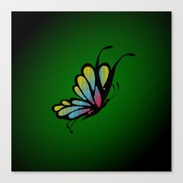 Mosaic Butterfly on Emerald Green Canvas Print