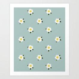 Daisies Vintage Pattern Art Print