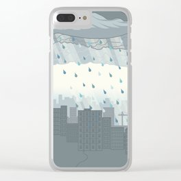Rain in the city Clear iPhone Case