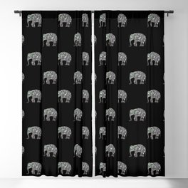Sparkly colourful silver mosaic Elephant Blackout Curtain