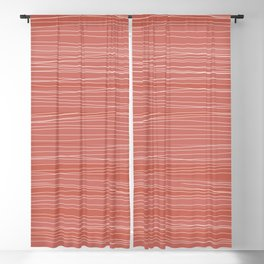Wavy Lines Coral & White   Pattern Blackout Curtain