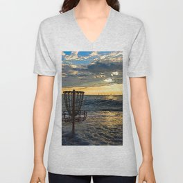 Disc Golf Basket Chesapeake Bay Virginia Beach Ocean Sunset Unisex V-Neck