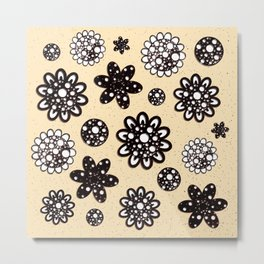 Black  stylized flowers in dots on yellow background  Metal Print