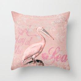 Retro Pelican Vintage Style Illustration Throw Pillow
