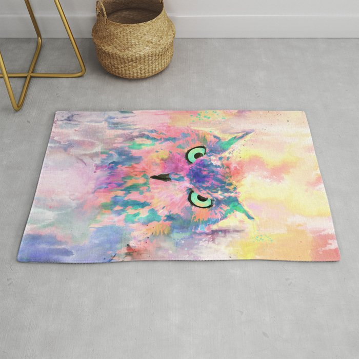 Watercolor eagle owl abstract paint Rug