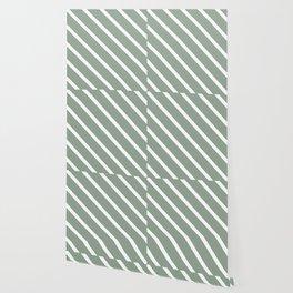 White Sage Diagonal Stripes Wallpaper