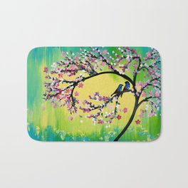 Green With Pink Blossoms Bath Mat