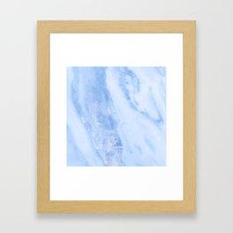Shimmery Pure Cerulean Blue Marble Metallic Framed Art Print