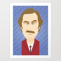 will ferrell Art Prints featuring Will Ferrell as Ron Burgundy by Leo Maia