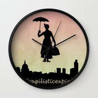 mary poppins Wall Clocks featuring mary poppins by cubik rubik