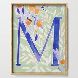 Monogram letter M Citrus Grove Initial Watercolor Serving Tray