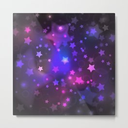 Mystical Magenta Star Galaxy Metal Print