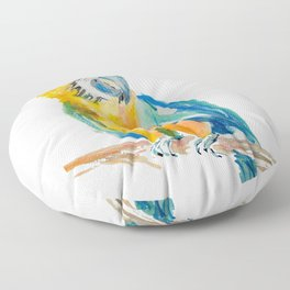 blue and yellow Parrot bird watercolour painting Floor Pillow