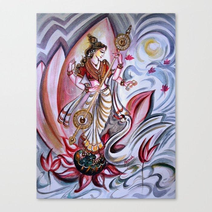 Musical Goddess Saraswati - Healing Art Canvas Print