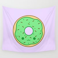 doughnut Wall Tapestries featuring Yummy green kawaii doughnut by Holly