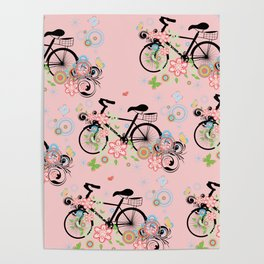 Bicycle and Colorful Floral Ornament Poster