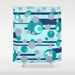 Geometric turquoise grey mix Shower Curtain