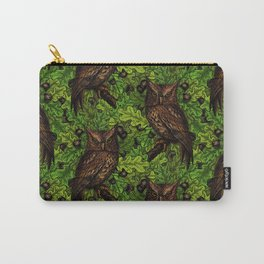 Owls in the oak tree, green and brown Carry-All Pouch
