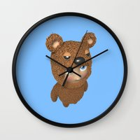 furry Wall Clocks featuring Furry baby by Metin Seven
