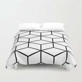 Black and White - Geometric Cube Design I Duvet Cover