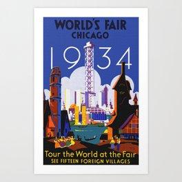 1934 Chicago World's Fair Travel Poster Art Print