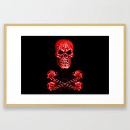 Skull And Crossbones Red Framed Art Print
