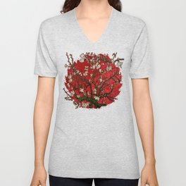 Abstract Daisy With Red Background Unisex V-Neck