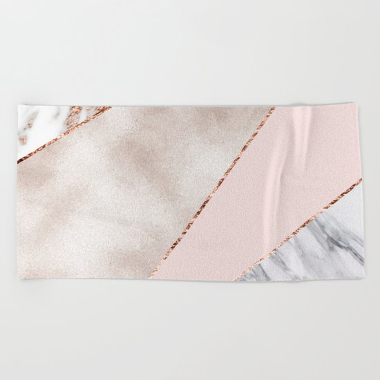 Spliced mixed rose gold marble Beach Towel